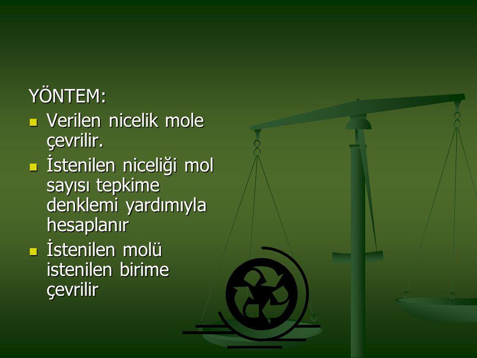 YÖNTEM: Verilen nicelik mole çevrilir. İstenilen niceliği mol sayısı tepkime denklemi yardımıyla hesaplanır.