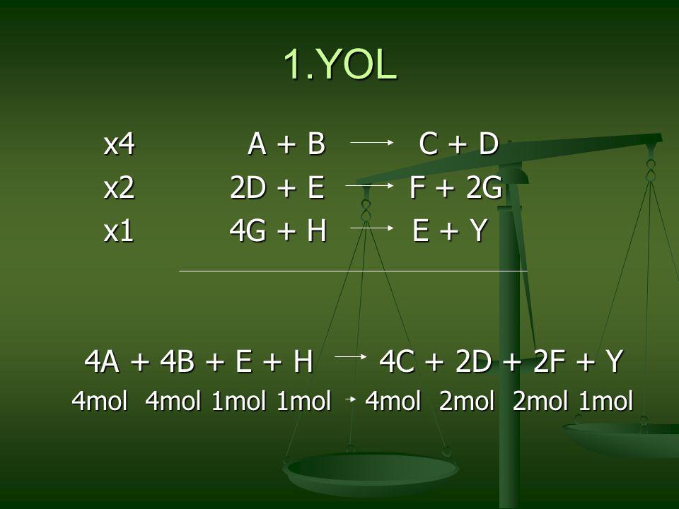 1.YOL x4 A + B C + D x2 2D + E F + 2G x1 4G + H E + Y