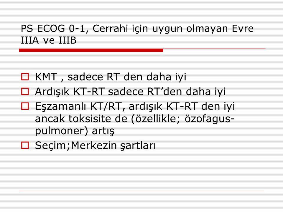 PS ECOG 0-1, Cerrahi için uygun olmayan Evre IIIA ve IIIB