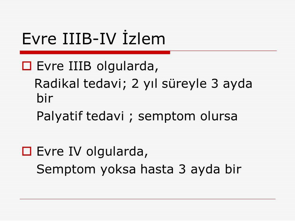 Evre IIIB-IV İzlem Evre IIIB olgularda,
