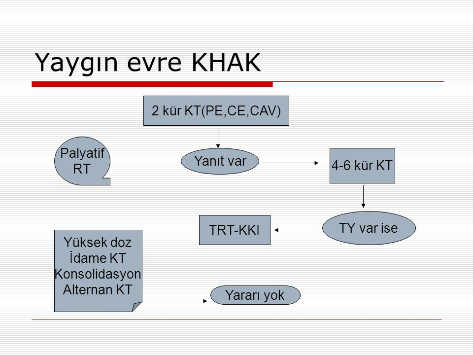 Yaygın evre KHAK 2 kür KT(PE,CE,CAV) Palyatif RT Yanıt var 4-6 kür KT