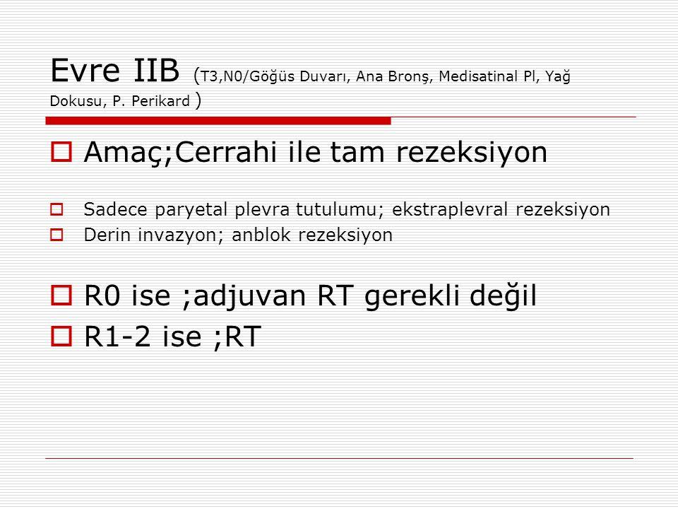 Evre IIB (T3,N0/Göğüs Duvarı, Ana Bronş, Medisatinal Pl, Yağ Dokusu, P