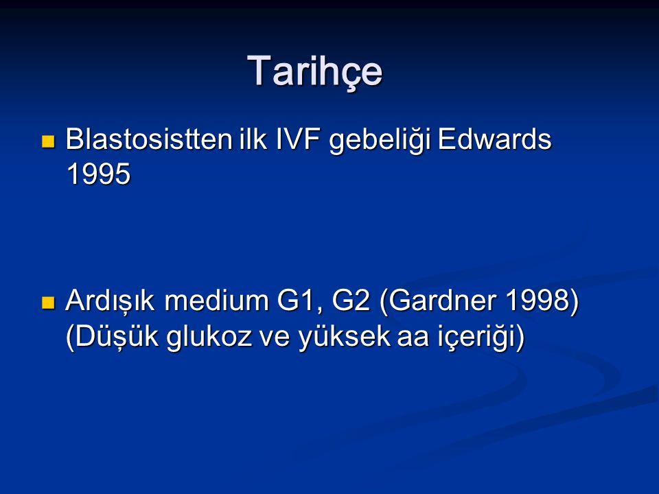 Tarihçe Blastosistten ilk IVF gebeliği Edwards 1995