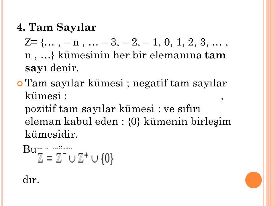 4. Tam Sayılar Z= {… , – n , … – 3, – 2, – 1, 0, 1, 2, 3, … , n , …} kümesinin her bir elemanına tam sayı denir.