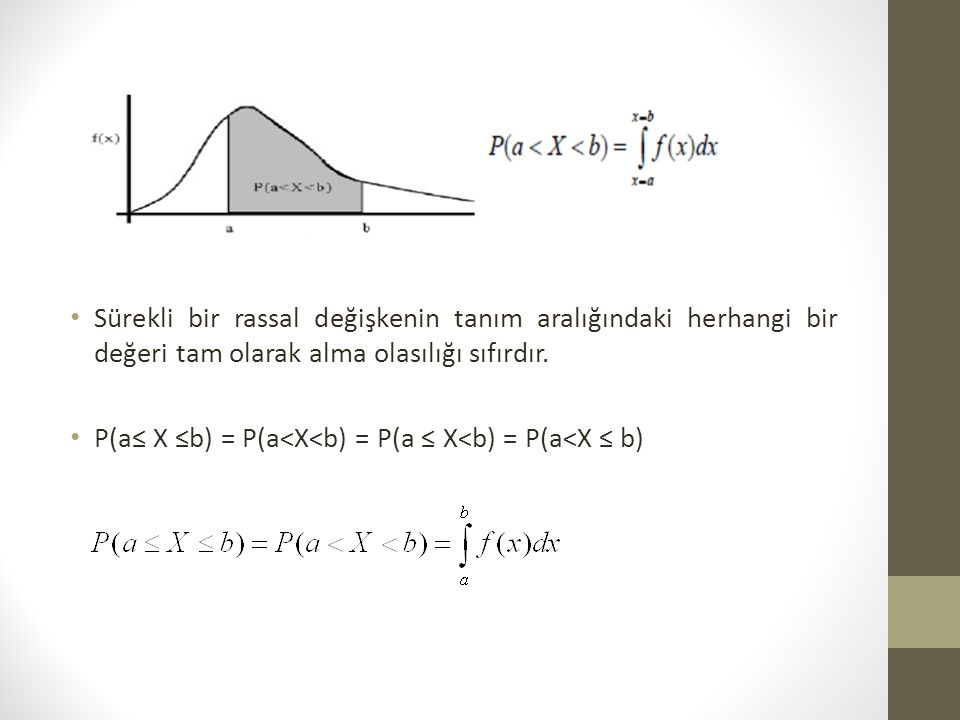 Sürekli bir rassal değişkenin tanım aralığındaki herhangi bir değeri tam olarak alma olasılığı sıfırdır.