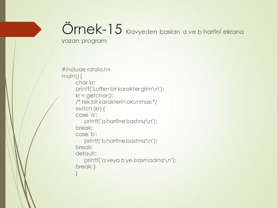 Örnek-15 Klavyeden basılan a ve b harfini ekrana yazan program
