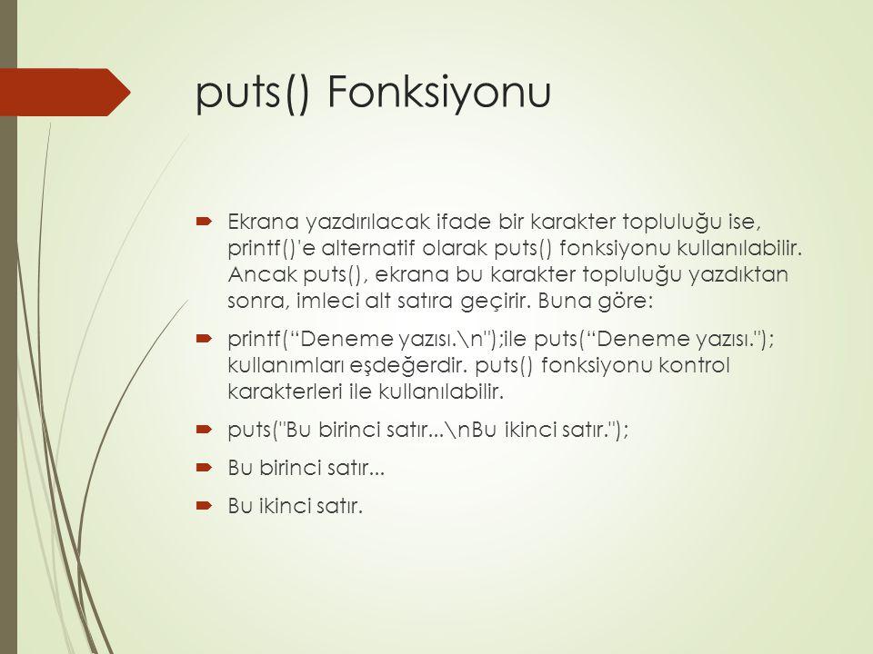 puts() Fonksiyonu