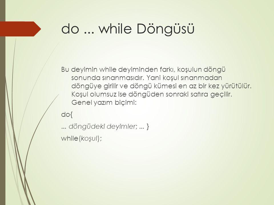 do ... while Döngüsü