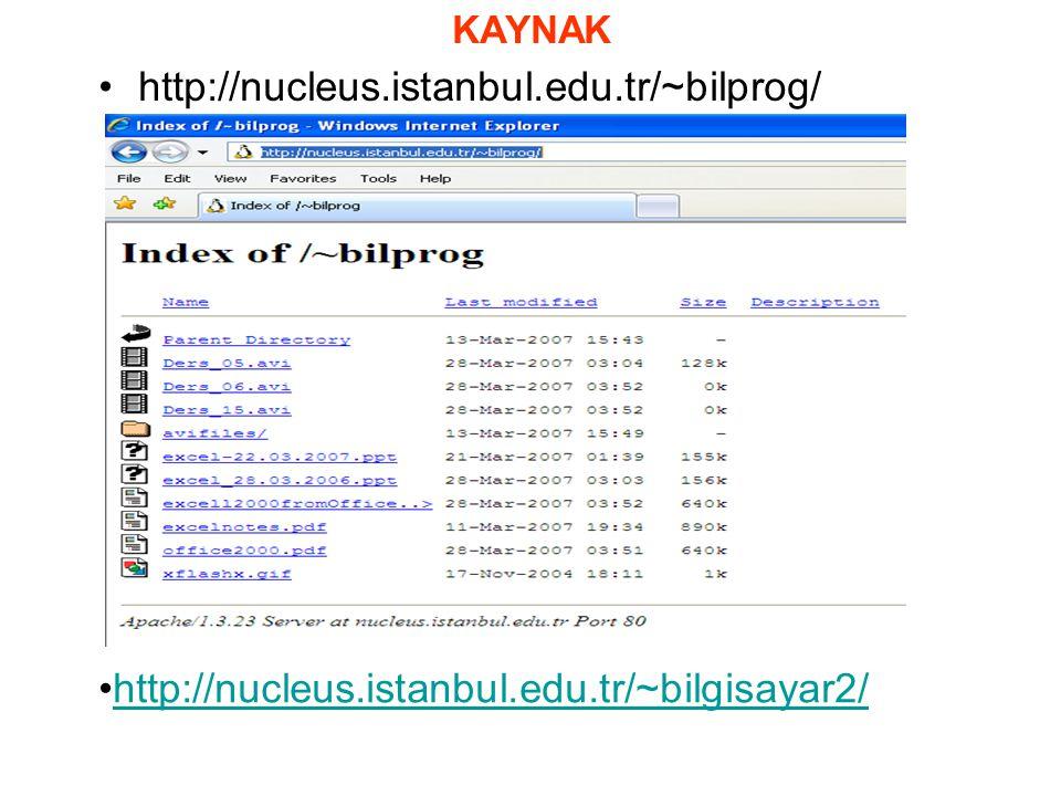 KAYNAK http://nucleus.istanbul.edu.tr/~bilprog/ http://nucleus.istanbul.edu.tr/~bilgisayar2/