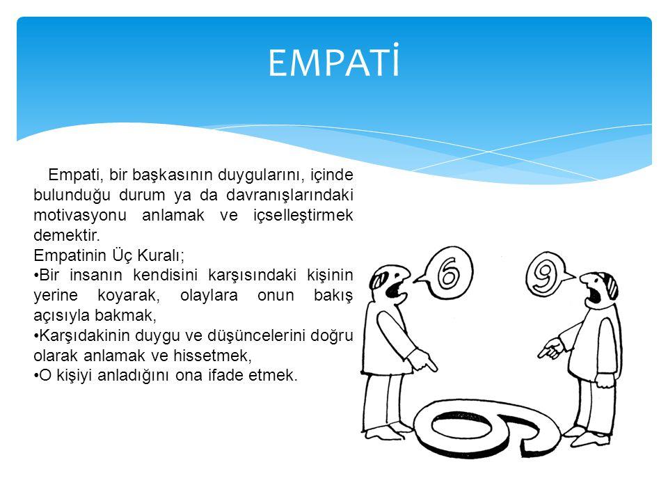 EMPATİ Empati, bir başkasının duygularını, içinde bulunduğu durum ya da davranışlarındaki motivasyonu anlamak ve içselleştirmek demektir.