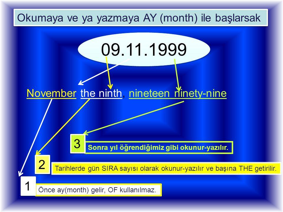 09.11.1999 3 2 1 Okumaya ve ya yazmaya AY (month) ile başlarsak