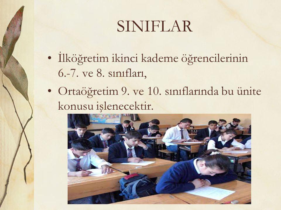 SINIFLAR İlköğretim ikinci kademe öğrencilerinin 6.-7.