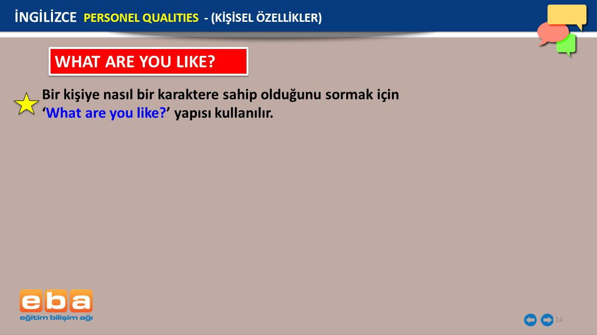 WHAT ARE YOU LIKE İNGİLİZCE PERSONEL QUALITIES - (KİŞİSEL ÖZELLİKLER)