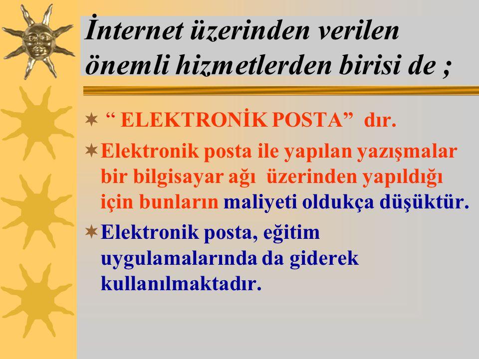 İnternet üzerinden verilen önemli hizmetlerden birisi de ;