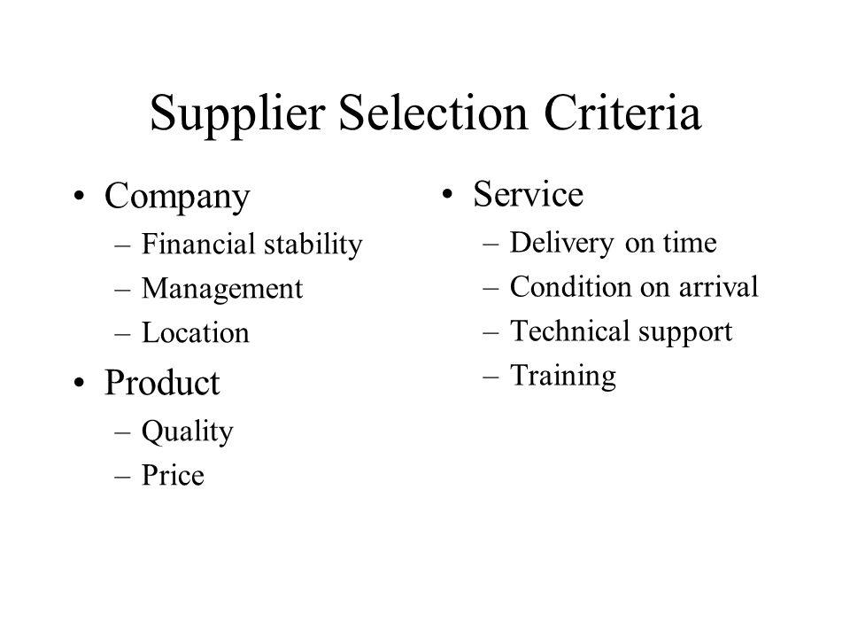 Supplier Selection Criteria