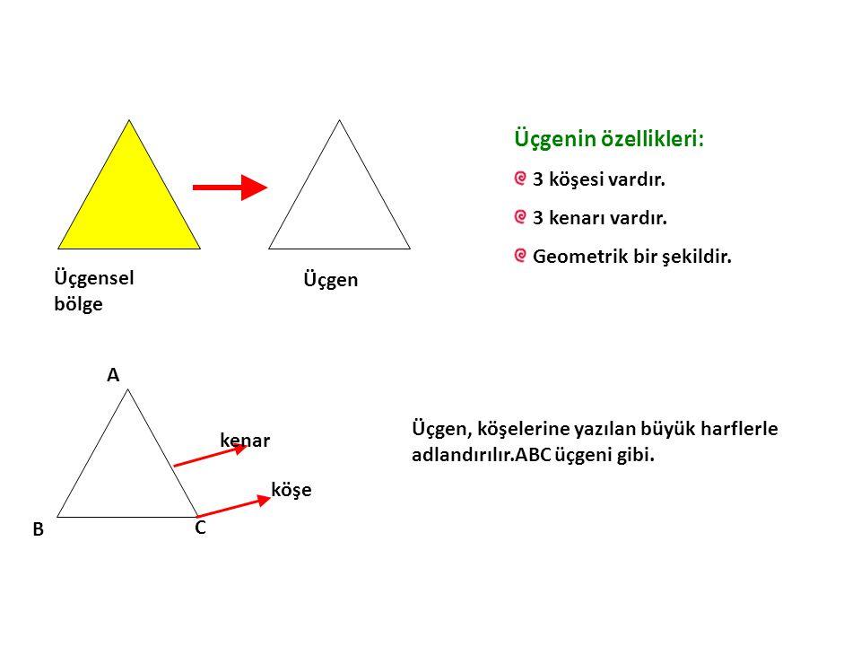 Üçgenin özellikleri: 3 köşesi vardır. 3 kenarı vardır.