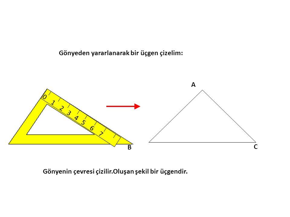 Gönyeden yararlanarak bir üçgen çizelim: