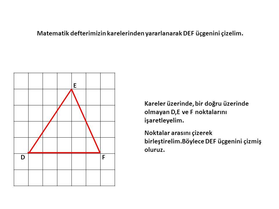 Matematik defterimizin karelerinden yararlanarak DEF üçgenini çizelim.