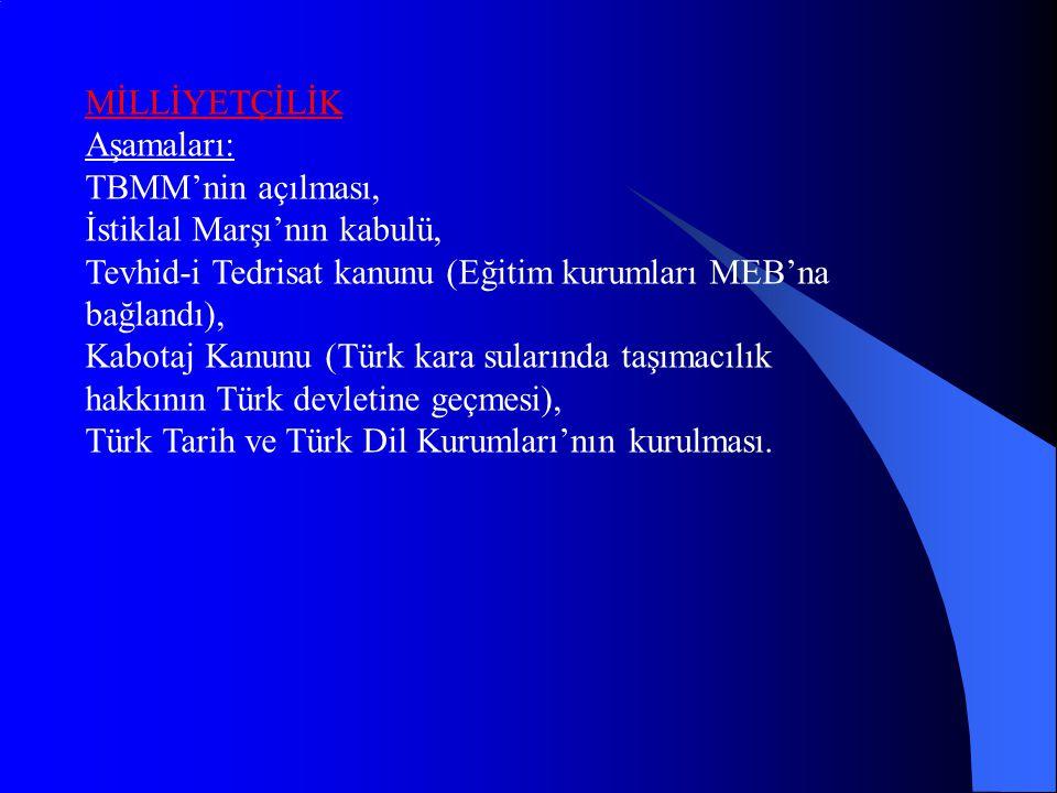 MİLLİYETÇİLİK Aşamaları: TBMM'nin açılması, İstiklal Marşı'nın kabulü, Tevhid-i Tedrisat kanunu (Eğitim kurumları MEB'na bağlandı),