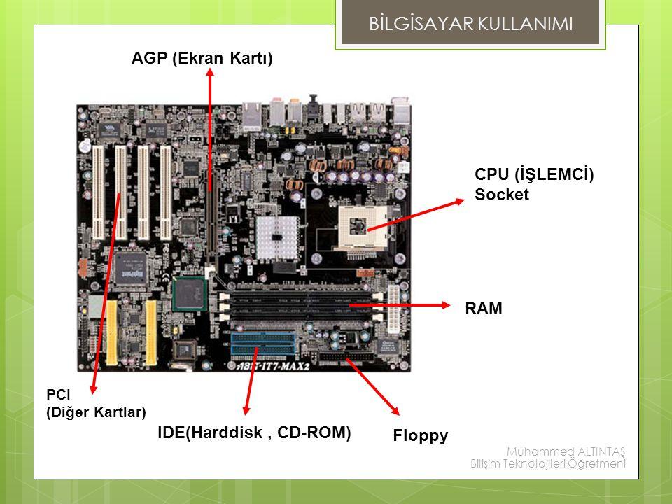BİLGİSAYAR KULLANIMI AGP (Ekran Kartı) CPU (İŞLEMCİ) Socket RAM