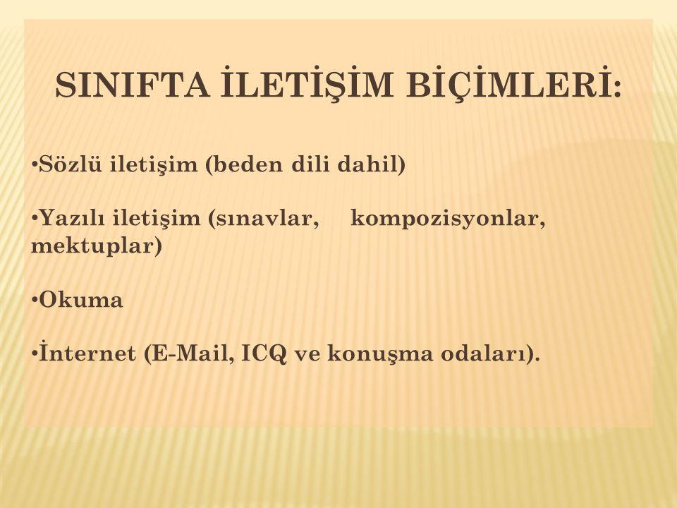 SINIFTA İLETİŞİM BİÇİMLERİ: