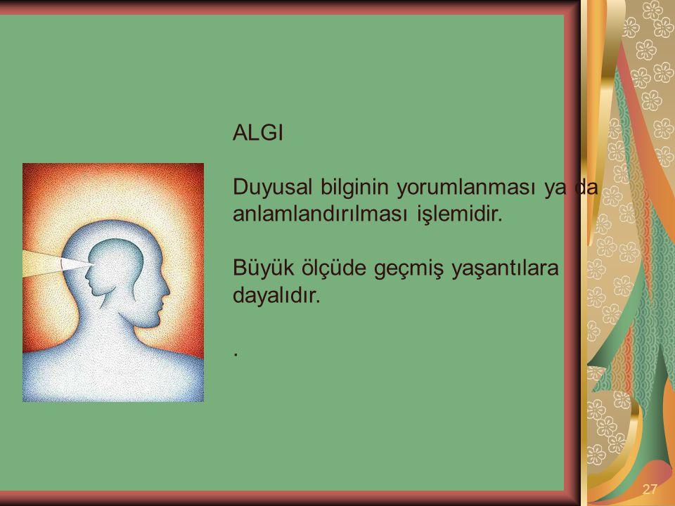 ALGI Duyusal bilginin yorumlanması ya da anlamlandırılması işlemidir. Büyük ölçüde geçmiş yaşantılara dayalıdır.