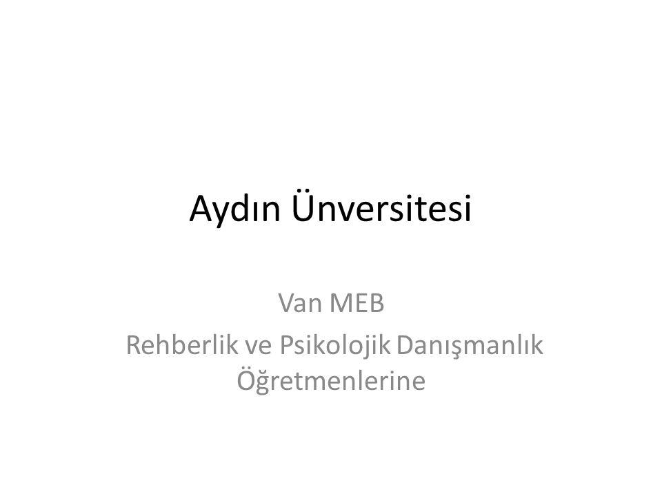 Van MEB Rehberlik ve Psikolojik Danışmanlık Öğretmenlerine