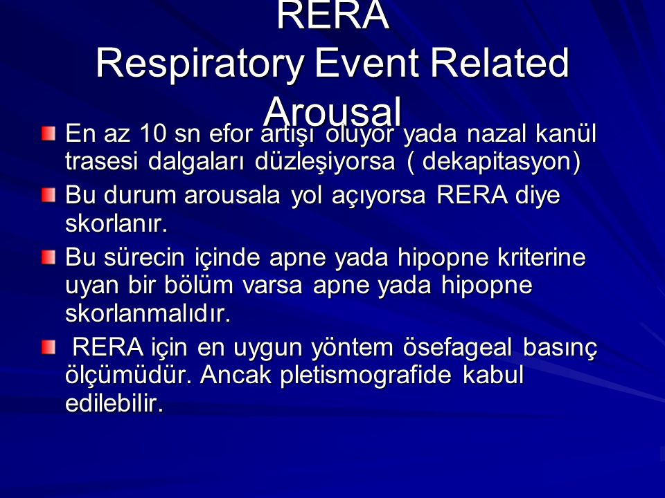 RERA Respiratory Event Related Arousal