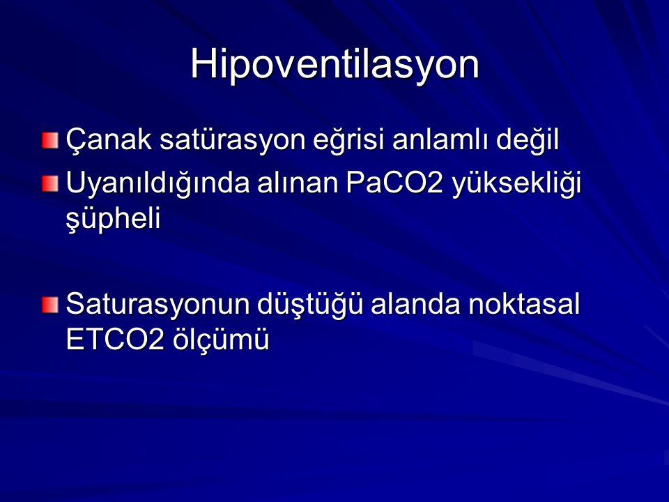Hipoventilasyon Çanak satürasyon eğrisi anlamlı değil