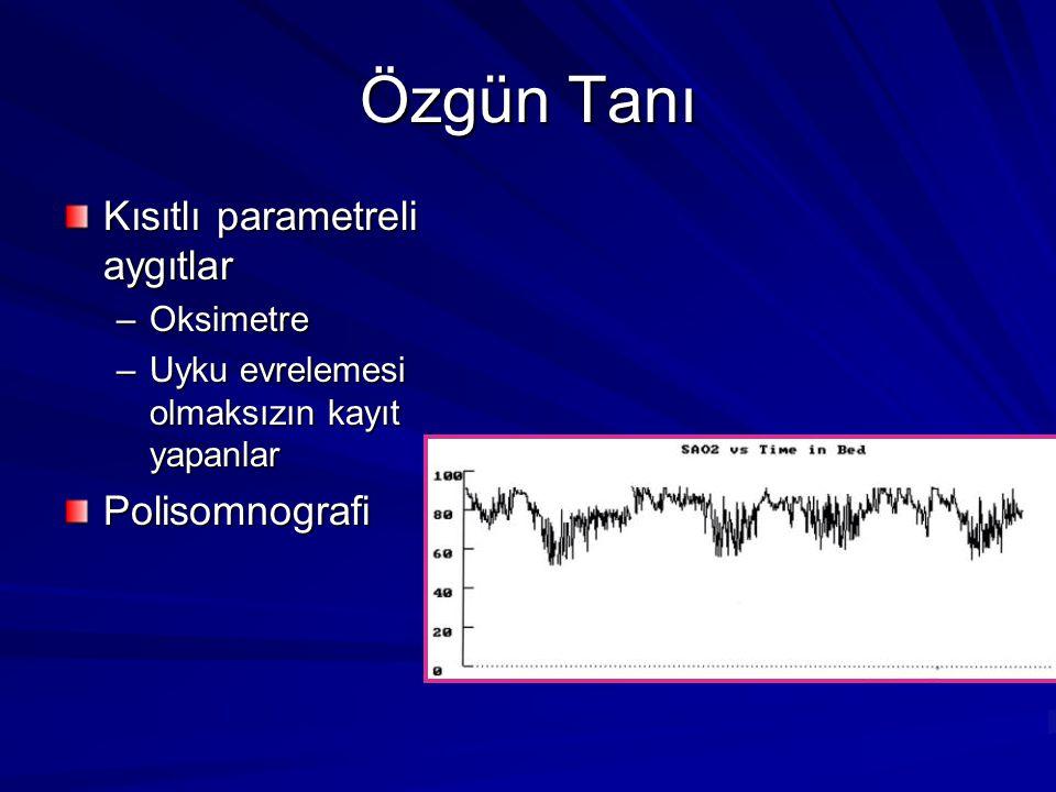 Özgün Tanı Kısıtlı parametreli aygıtlar Polisomnografi Oksimetre