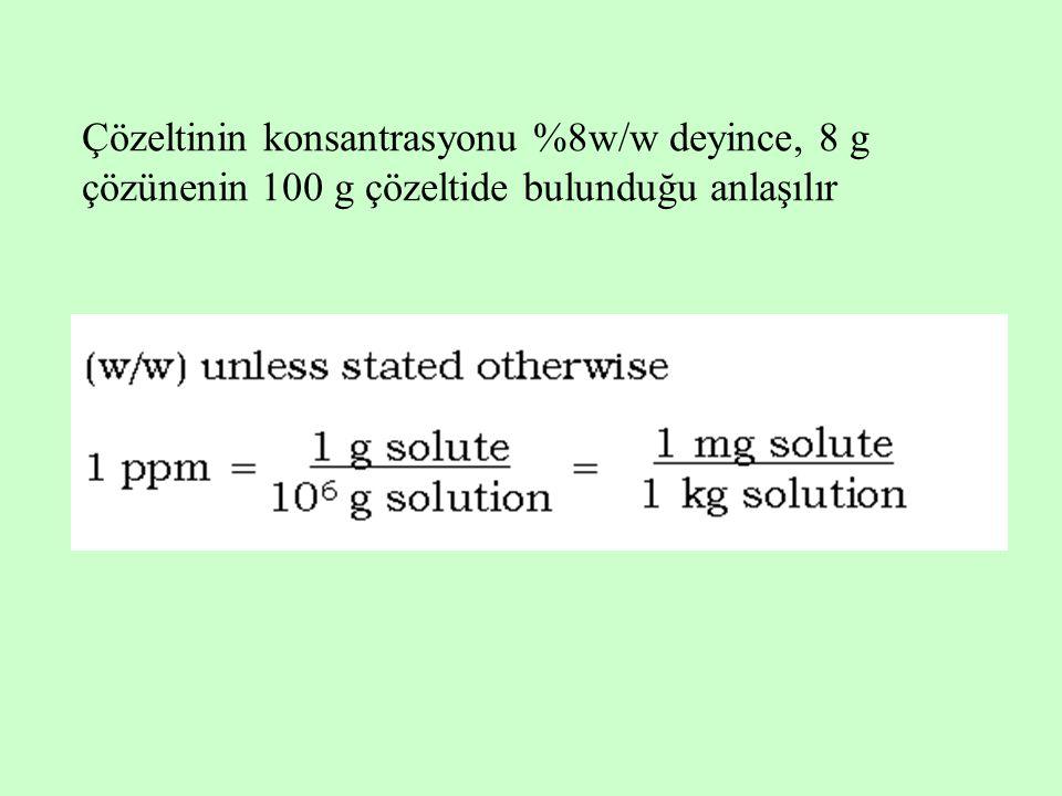 Çözeltinin konsantrasyonu %8w/w deyince, 8 g çözünenin 100 g çözeltide bulunduğu anlaşılır
