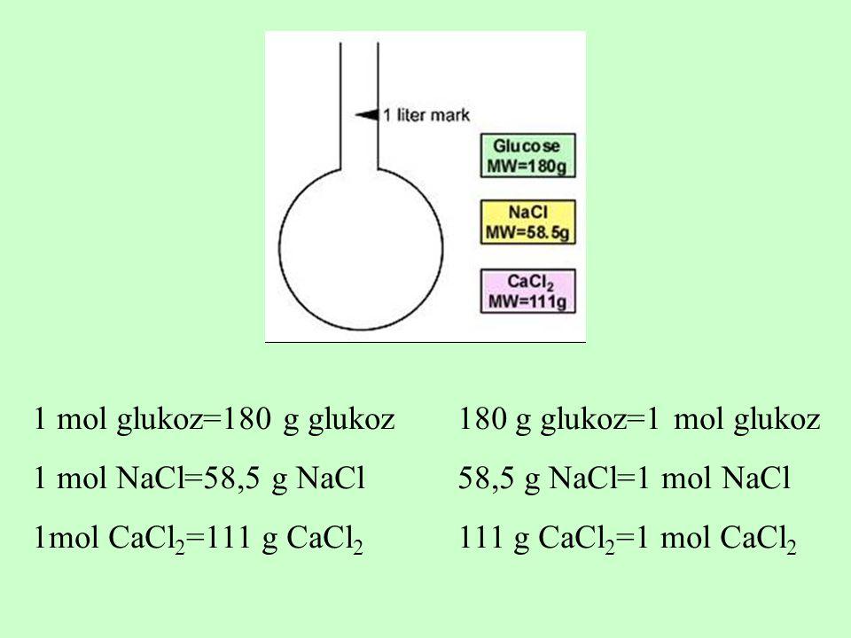 1 mol glukoz=180 g glukoz 180 g glukoz=1 mol glukoz