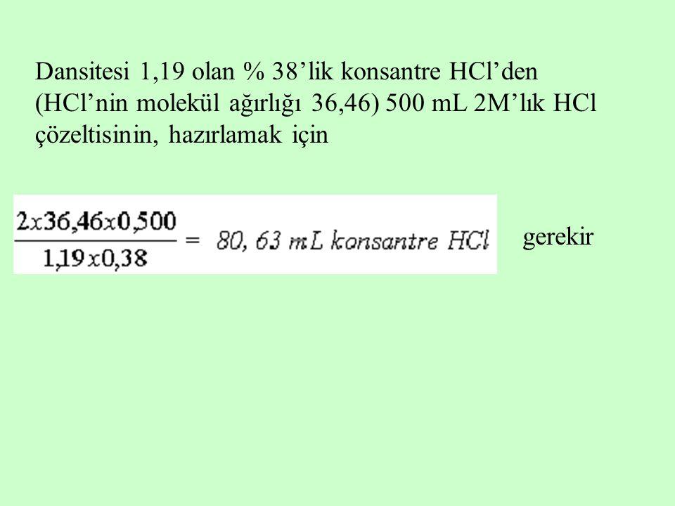 Dansitesi 1,19 olan % 38'lik konsantre HCl'den (HCl'nin molekül ağırlığı 36,46) 500 mL 2M'lık HCl çözeltisinin, hazırlamak için