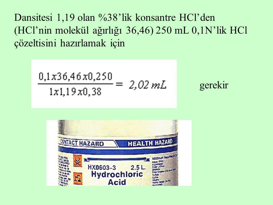 Dansitesi 1,19 olan %38'lik konsantre HCl'den (HCl'nin molekül ağırlığı 36,46) 250 mL 0,1N'lik HCl çözeltisini hazırlamak için