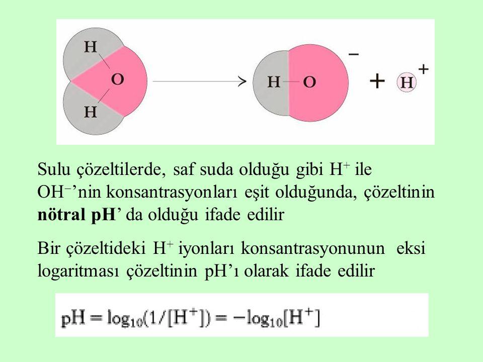 Sulu çözeltilerde, saf suda olduğu gibi H+ ile OH'nin konsantrasyonları eşit olduğunda, çözeltinin nötral pH' da olduğu ifade edilir