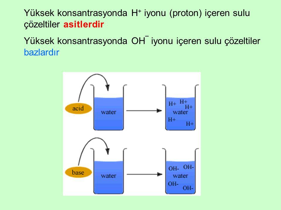 Yüksek konsantrasyonda H+ iyonu (proton) içeren sulu çözeltiler asitlerdir