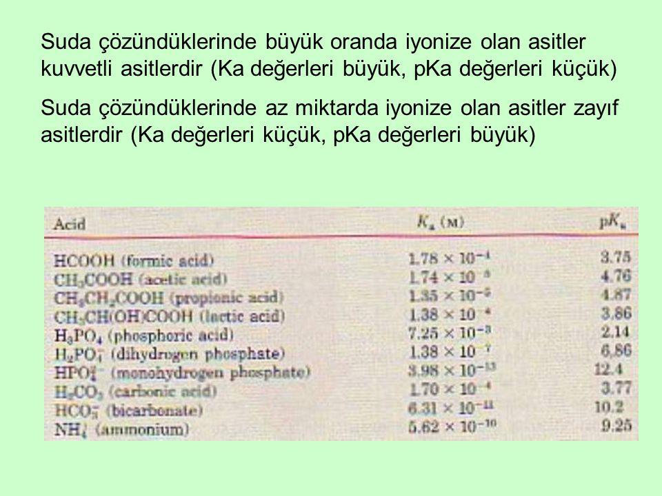 Suda çözündüklerinde büyük oranda iyonize olan asitler kuvvetli asitlerdir (Ka değerleri büyük, pKa değerleri küçük)