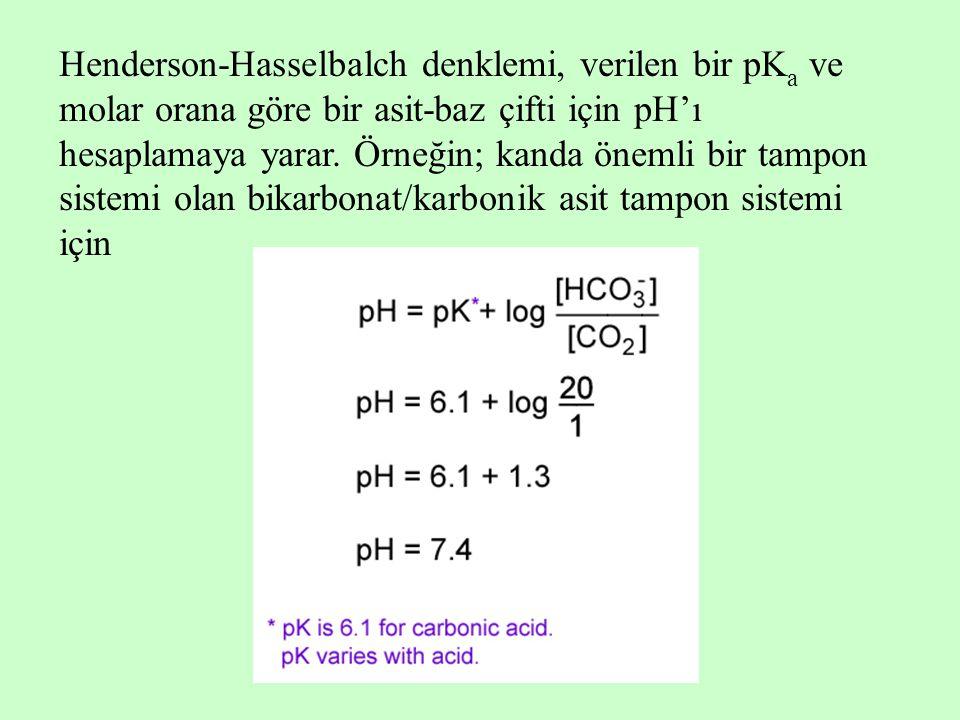 Henderson-Hasselbalch denklemi, verilen bir pKa ve molar orana göre bir asit-baz çifti için pH'ı hesaplamaya yarar.