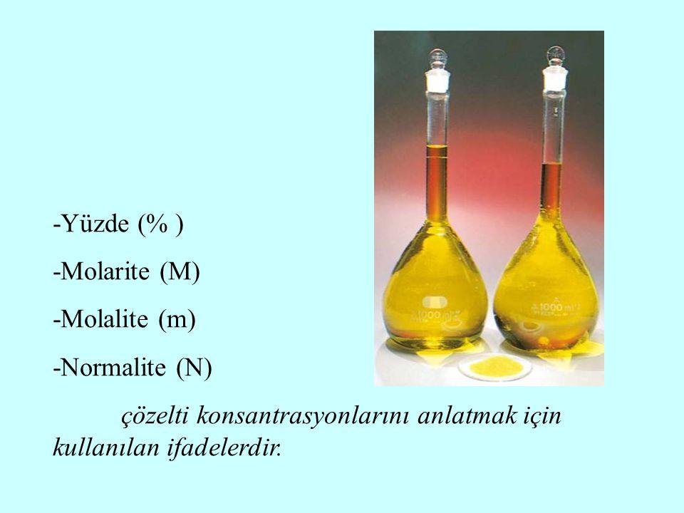 -Yüzde (% ) -Molarite (M) -Molalite (m) -Normalite (N) çözelti konsantrasyonlarını anlatmak için kullanılan ifadelerdir.
