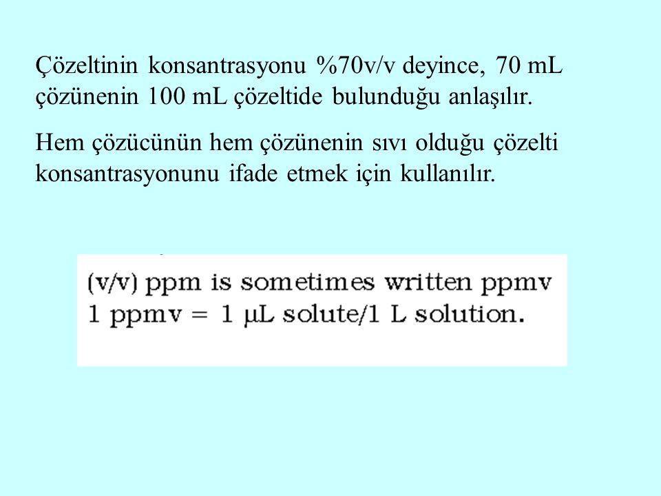 Çözeltinin konsantrasyonu %70v/v deyince, 70 mL çözünenin 100 mL çözeltide bulunduğu anlaşılır.