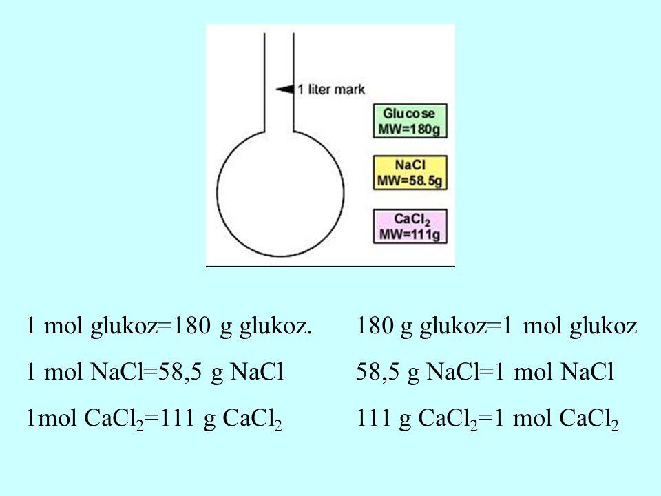1 mol glukoz=180 g glukoz. 180 g glukoz=1 mol glukoz