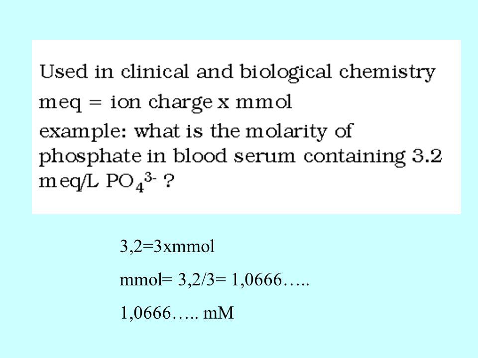 3,2=3xmmol mmol= 3,2/3= 1,0666….. 1,0666….. mM