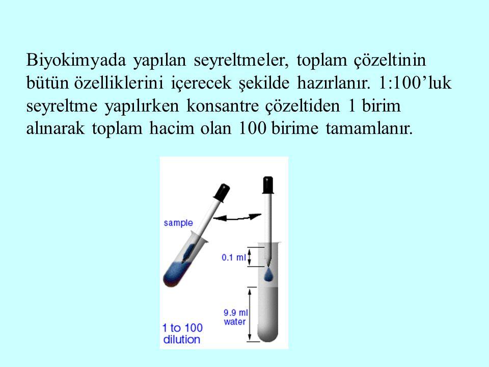 Biyokimyada yapılan seyreltmeler, toplam çözeltinin bütün özelliklerini içerecek şekilde hazırlanır.