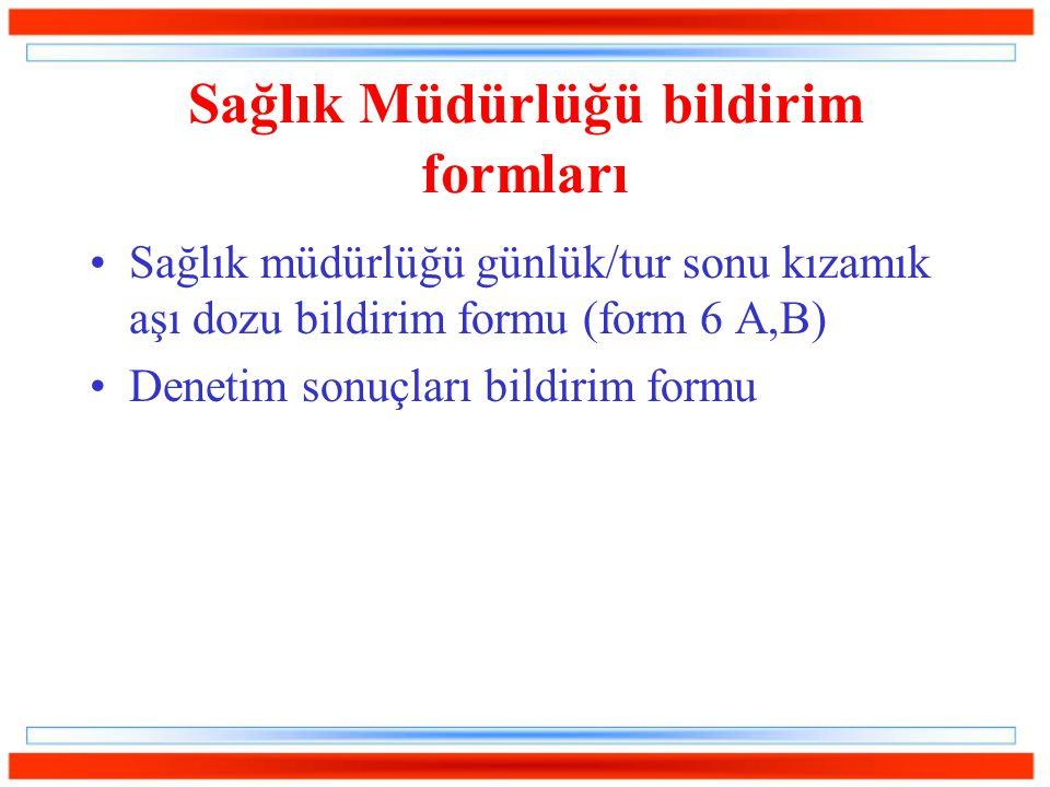 Sağlık Müdürlüğü bildirim formları