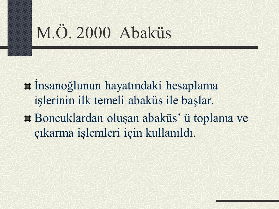 M.Ö. 2000 Abaküs İnsanoğlunun hayatındaki hesaplama işlerinin ilk temeli abaküs ile başlar.
