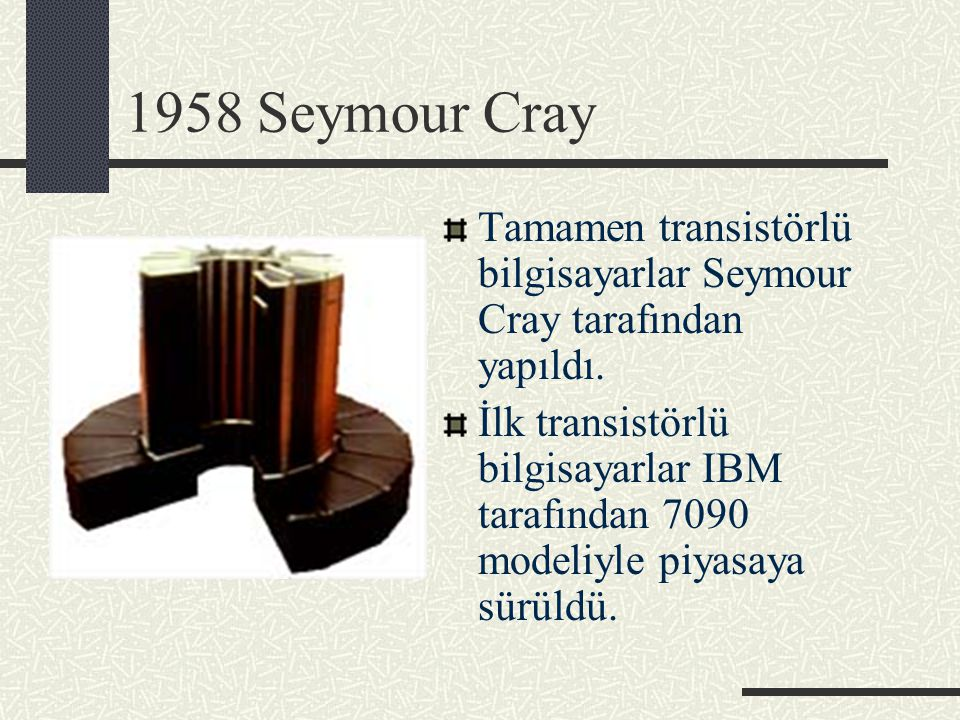 1958 Seymour Cray Tamamen transistörlü bilgisayarlar Seymour Cray tarafından yapıldı.
