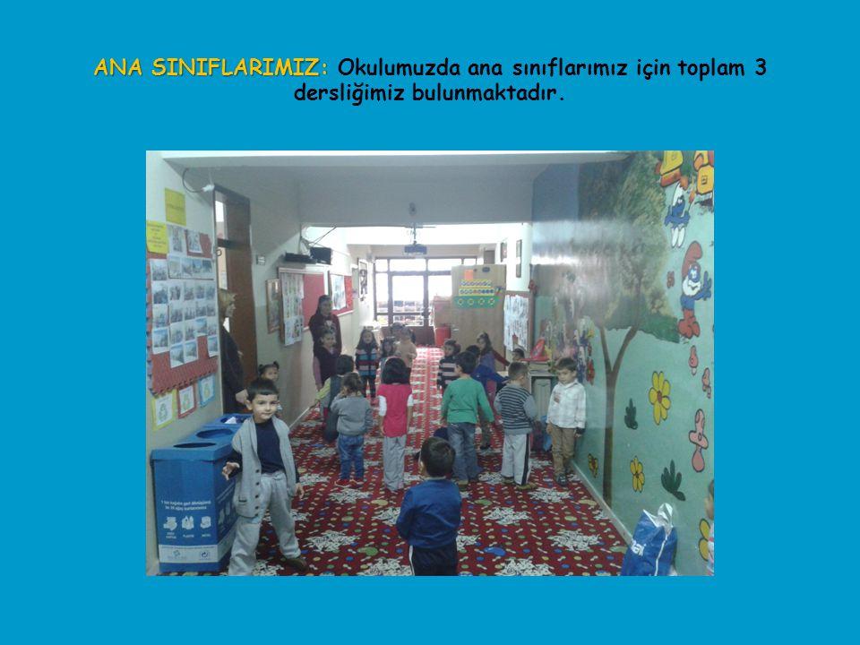 ANA SINIFLARIMIZ: Okulumuzda ana sınıflarımız için toplam 3 dersliğimiz bulunmaktadır.