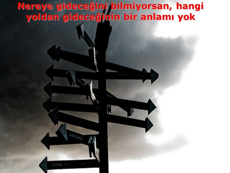 Nereye gideceğini bilmiyorsan, hangi yoldan gideceğinin bir anlamı yok