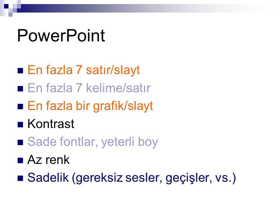 PowerPoint En fazla 7 satır/slayt En fazla 7 kelime/satır