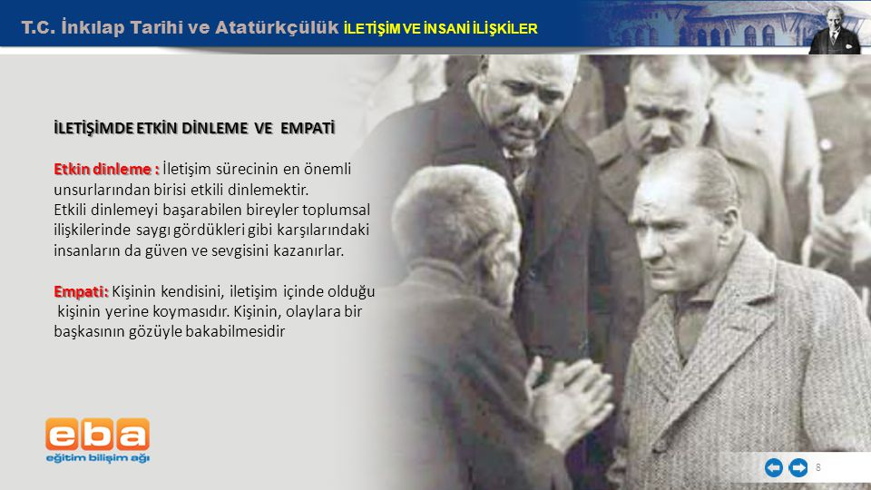 T.C. İnkılap Tarihi ve Atatürkçülük İLETİŞİM VE İNSANİ İLİŞKİLER